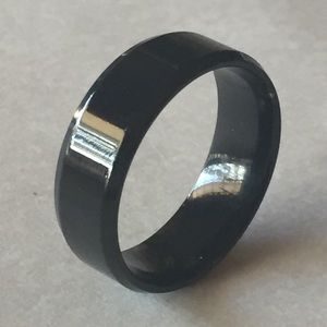 Sz 11 Shiny Black Stainless Steel Ring/Band.
